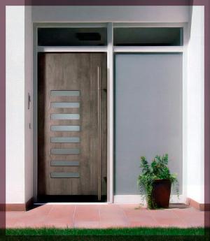 Puertas de aluminio sabadell exterior imitaci n madera for Disenos puertas de madera exterior