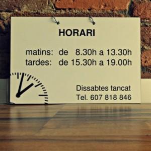 cartel horario de aïlla